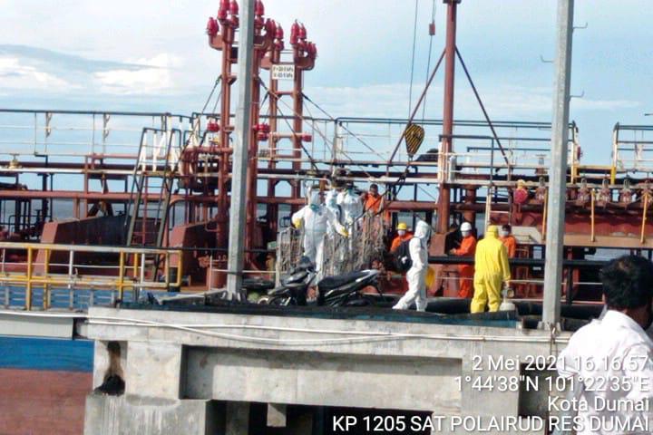 Pelabuhan Dumai Berstandar Internasional,Evakuasi Master Kapal MT ARK Progres Oleh Polres Dumai